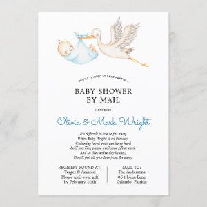 Blue Stork Baby Shower by Mail Invitation