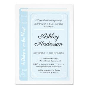Blue Storybook Baby Shower Invitation