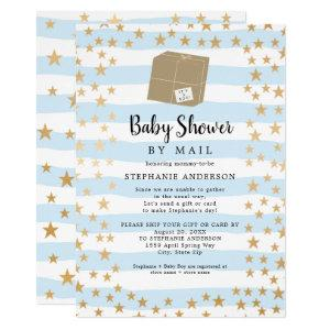 Blue Stripe + Gold Star Boy Baby Shower by mail Invitation