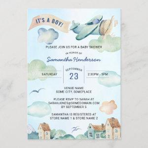 Blue Watercolor Airplane Boy's Baby Shower Invitation