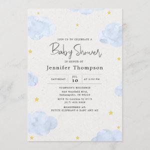 Blue Watercolor Clouds Boy Baby Shower
