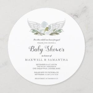 Blue Watercolor Florals Angel Wings Baby Shower Invitation