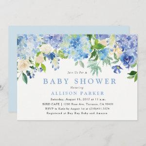 Blue Watercolor Flowers Baby Shower