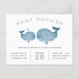 Blue Watercolor Whale Nautical Baby Shower Invitation Postcard