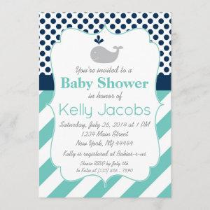 Blue Whale Baby Shower Invitation
