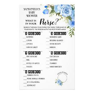 Blue What is in your Purse shower bilingual card