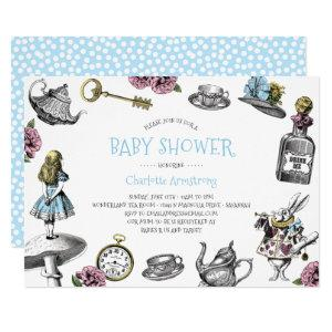 Blue Wonderland Baby Shower with Polka Dots Invitation