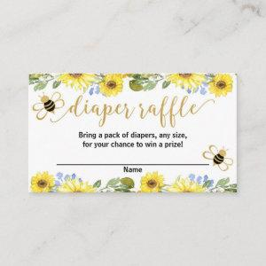 Blue yellow flowers bumble bee diaper raffle cards