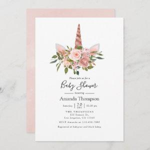 Blush and Rose Gold Floral Unicorn Baby Shower Invitation