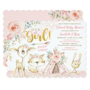 Blush Boho Floral Woodland Virtual Baby Shower Invitation