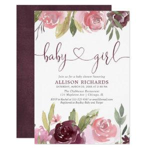 Blush burgundy floral watercolor girl baby shower invitation
