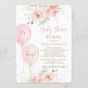 Blush Floral Balloons Twins Baby Shower by Mail Invitation