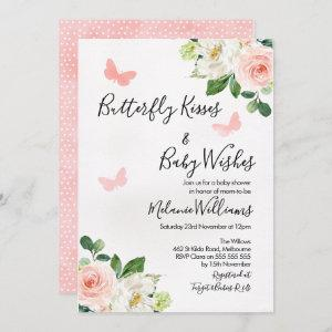 Blush Floral Butterfly Baby Shower Invitation