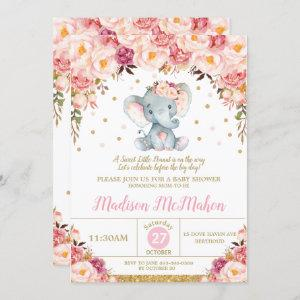 Blush Floral Elephant Baby Shower Girl Invitation