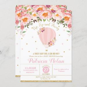 Blush Floral Hot Air Balloon Baby Shower Baby Girl