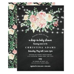 Blush Floral lights drop in girl baby shower Invitation