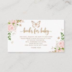 Blush gold butterfly books for baby ticket enclosu enclosure card