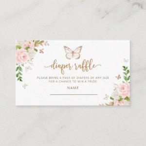 Blush gold Butterfly diaper raffle ticket Enclosure Card