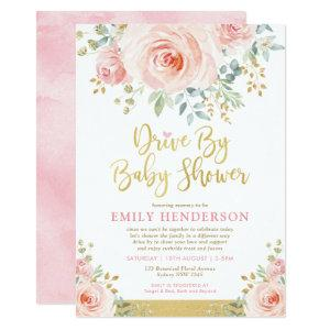 Blush Gold Floral Drive By Baby Shower Quarantine Invitation
