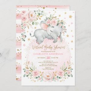 Blush Gold Floral Elephant Virtual Baby Shower Invitation