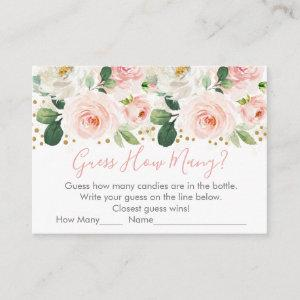 Blush & Gold Floral Guess How Many Shower Game Enclosure Card