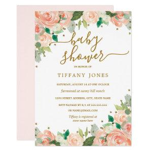 Blush Gold Peach Floral Watercolor Baby Shower Invitation