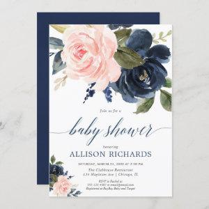 Blush pink and navy blue floral girl baby shower invitation