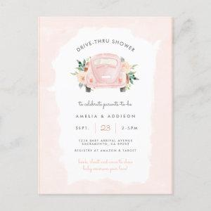 Blush Pink Car Girl Drive Through Baby Shower Invitation Postcard