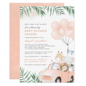 Blush Pink Car Safari Animals Drive By Baby Shower Invitation