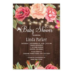 Blush pink floral barn wood baby shower invitation