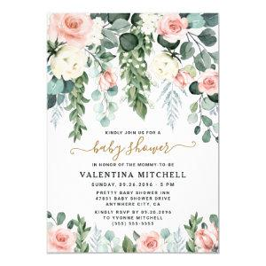 Blush Pink Floral Garden Watercolor Baby Shower Invitation