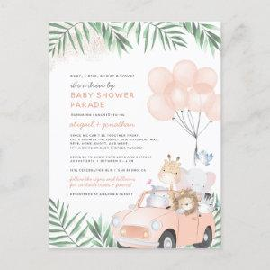Blush Pink & Gold Cute Safari Drive By Baby Shower Invitation Postcard