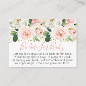 Blush Pink & Gold Floral Baby Shower Book Request Enclosure Card