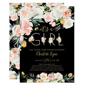 Blush Pink Gold Floral It's A Girl Baby Shower Invitation