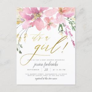 Blush Pink & Gold It's A Girl Floral Baby Shower  Postcard