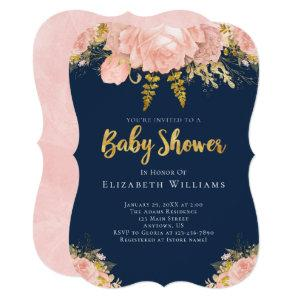Blush Pink Gold Navy Blue Flower Girl Baby Shower Invitation
