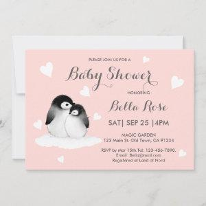 Blush Pink Heart Penguin Baby Shower Invitations