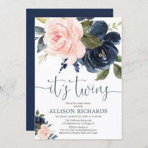 Blush pink navy blue floral Twins baby shower
