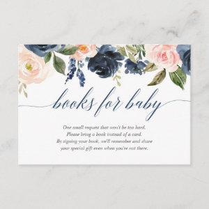 Blush pink navy blue girl baby shower book request enclosure card