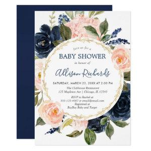 Blush pink navy blue gold elegant baby shower invitation