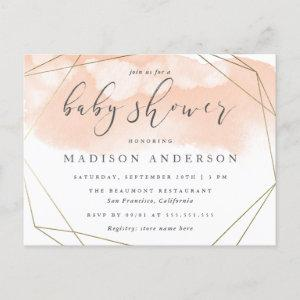 Blush Pink Watercolor Gold Geometric Baby Shower Invitation Postcard