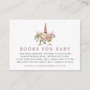 Blush & Rose Gold Unicorn Baby Shower Book Request Enclosure Card