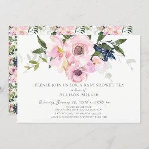 Blush Roses & Peonies Baby Tea Party Invitation