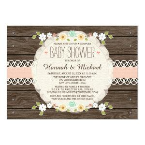 BLUSH RUSTIC FLORAL BOHO COUPLES BABY SHOWER INVITATION
