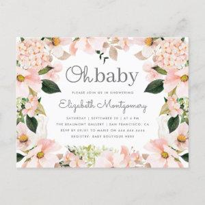Blush Spring Floral Wreath Oh Baby Shower Invitation Postcard