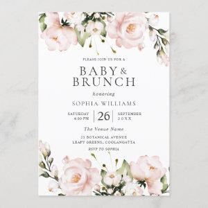 Blush Watercolor Flowers Baby Shower Brunch