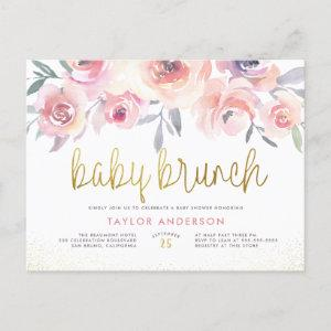 Blush Watercolor Roses Greenery Baby Brunch Shower Invitation Postcard