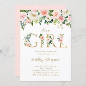 Blush & White Flowers Gold It's a Girl Baby Shower