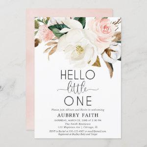 Blush white rustic floral sip see meet baby girl invitation