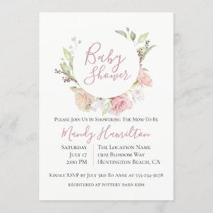 Blushing Floral Wreath Baby Shower